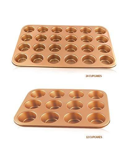 Muffin Tray set Muffinform mit kupferbeschichtete Cupcake-Schalen 12& 24 Muffins, Muffin Tabletts Cupcake BackPfannen/Non Stick/GeschirrSpüler-MikroWelle sicher Muffinschale Muffinblech -