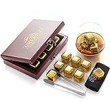 Oro Whisky Stones Set di Regalo in Acciaio Inox - 8 Cubetti Ghiaccio Riutilizzabili per Il Whiskey - Set di Pietre da Whiskey - Cubetti Refrigeranti con Sottobicchieri - Regali per Lui