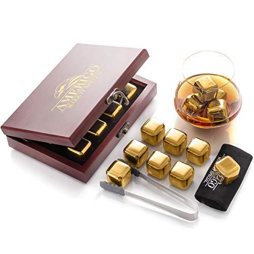 Ensemble de Cadeaux Pierre a Whisky d'Or Exclusives en Acier Inoxydable - Haute Technologie de Refroidissement - 8 Glaçons Reutilisable - Whisky Stones Gift Set - Cadeau Homme + Pincettes de Barman
