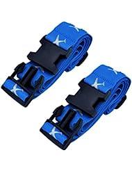 Mudder Correa de Equipaje Ajustable con Etiquetas de Correa para Viaje Exterior, Azul