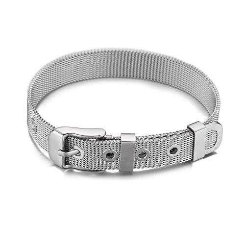 2015 ® Buchstaben Mesh Armband Charms Anhänger (Valentinstagsgeschenk) Charmband für Damen (Silber Armband Mesh) ()