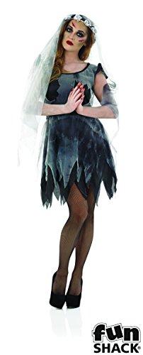 Short Black Corpse Bride Adult Womens Halloween (Kostüm Corpse Halloween Kinder Bride Für)