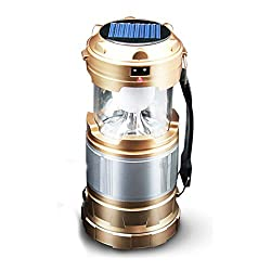 Portable 2 In 1 Solar Rechargeable Collapsible LED ( Colors May Vary ) Camping Lantern Flashlight Lamp For Night Hiking Fishing With USB Port Only From M.P.Enterprises