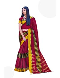 Magenta Yellow Color Cotton Blend Printed Saree with Border