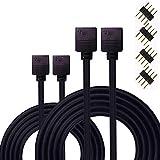Kabenjee 2X 4polig RGB Band Licht 2m Verlängerungs Kabel,RGB LED Stripe Verbinder Verteiler Kabel für OSRAM Flexible RGB LED Streifen,mit Lötfreiem 4-polige Stecker,4pin LED Erweiterungs Anschluss