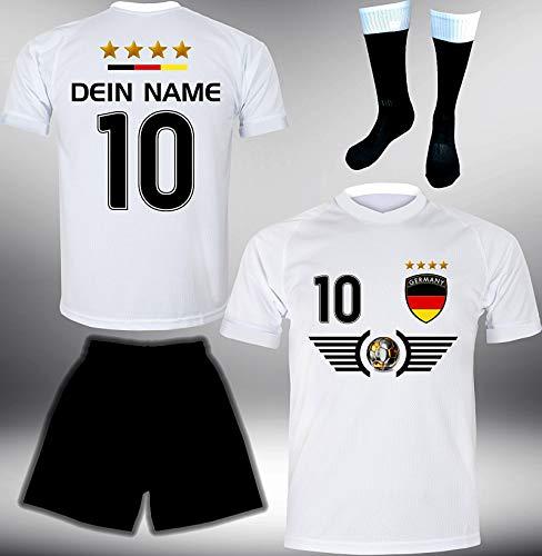 ElevenSports Deutschland Trikot Set 2018 mit Hose & Stutzen GRATIS Wunschname + Nummer im EM WM Weiss Typ #DE5ths - Geschenke für Kinder Erw. Jungen Baby Fußball T-Shirt Bedrucken