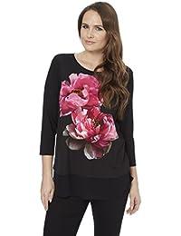 Roman Originals Femme Top Long Manches 3/4 Motif Floral Noir