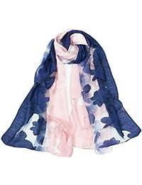 35826980b859 Leisial Écharpe Femmes en Organza Style Coréen Simple Couleur Dégradé  Fleurs Coupées Broderie Châle Foulard Cadeau