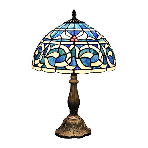 Nachttischlampe im Tiffany-Stil, Buntglas, 30,5 cm, Blau/Weiß