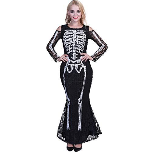 Für Panda Kostüm Verkauf - EraSpooky Halloween Damen Gotisch Skelett Spitze Schwarz Kleid