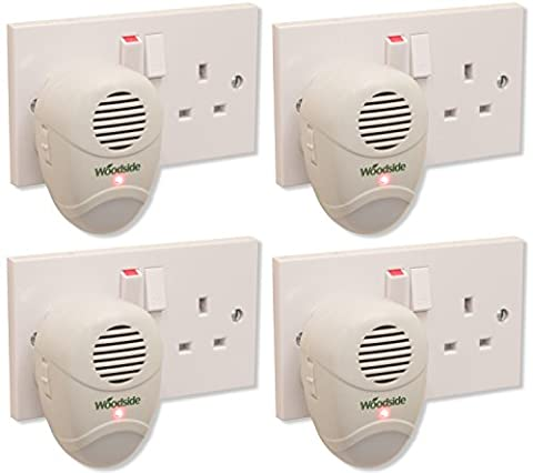 4 X Woodside Plug-In Mouse/Rat/Rodent Repeller Ultra Sonic Repellent Pest Deterrent