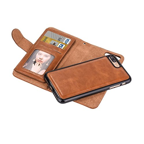 IPhone 7 Plus Fall Trennbare Crazy Horse Texract Horizontale Flip Reißverschluss Ledertasche mit Card Slot && Brieftasche & Foto Frame & Lanyard Für iPhone 7 Plus Fall by diebelleu ( Color : Brown ) Coffee
