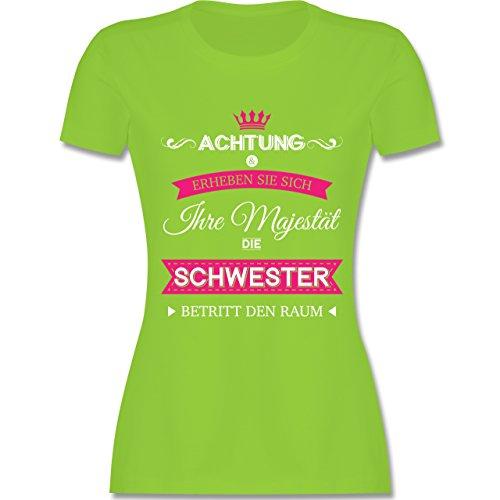 Shirtracer Schwester & Tante - Ihre Majestät Die Schwester - Damen T-Shirt Rundhals Hellgrün