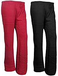 Indistar Womens Warm Woolen Full Length Palazo Pants For Winters_Free Size_Maroon/Black