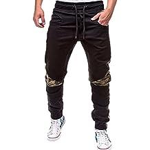3bb3035691aee5 Ba Zha Hei Mode Männer Persönlichkeit Freizeit Einfarbig Nähen Bewegung  Hose Mode Herren Sport Camouflage Lasch