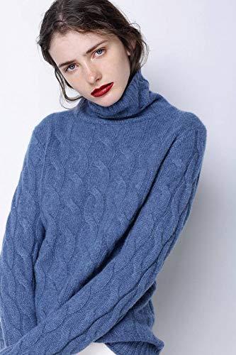 Stricken Hemd (Good dress Herbst und Winter Kaschmirpullover mit Stehkragen Weiblichen Dicken Pullover Pullover Einfache Reine Farbe Twist Wolle Stricken Hemd Grundiert, Preußischblau, XL)