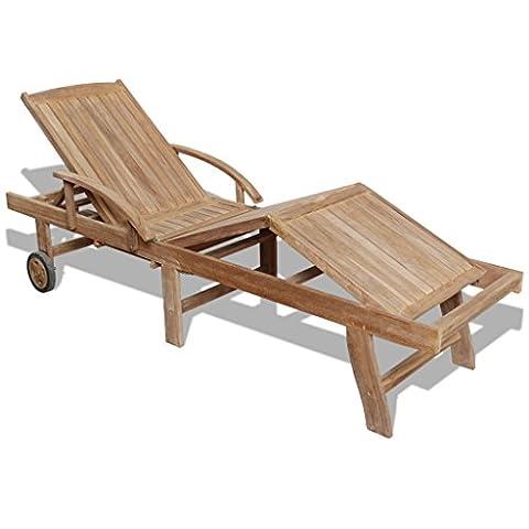vidaXL Chaise longue à 5 positions 195 x 59,5 x 35 cm Teck Bain de soleil de jardin