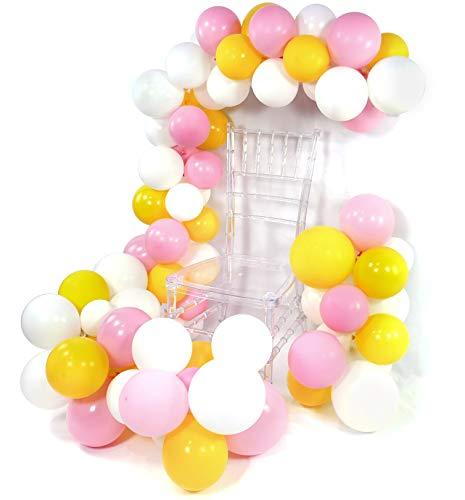 PuTwo Rosa Gelb Weiß Luftballons 100 Stück Luftballons Rosa Luftballons Weiß Gelb Luftballons, Luftballons Matt für die Schöne und das Biest Party, Beauty and The Beast Party, Partydeko Belle