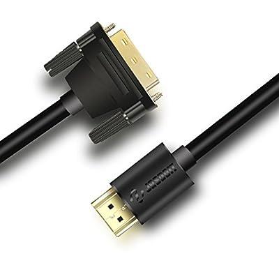 Hoozer câble HDMI vers DVI, DVI D vers HDMI câble bidirectionnel, plaqué or support 1080p pour lecteur Blu Ray, PS 4, Nintendo Wii, Plasma, DVD, ordinateur, TV HD, Vidéoprojecteur et bien plus encore par HOOZER