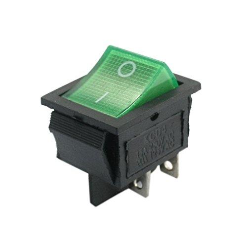 DPST 2 Position 4 Pins Wippenschalter AC250V 15A 125V 20A w Grüne Lampe -