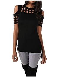 Koly_Manica corta donne senza bretelle di modo scava fuori maglietta casuale parti superiori