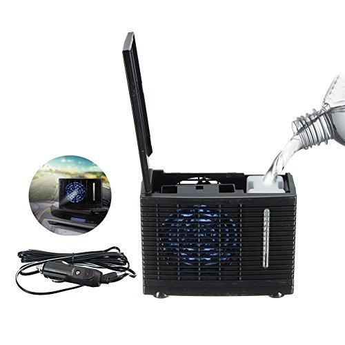 StageOnline Universal DC12V aire acondicionado evaporativo aire acondicionado del coche 35W negro portátil mini acondicionador de enfriamiento ventilador de aire evaporativo de agua, verano enfriamiento aire circulador bajo ruido