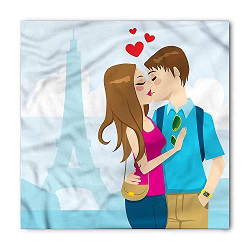 TKMSH City Love Bandana, Young Couple Kissing Love, Unisex Head and Neck Tie,Unisex Bandana Head and Neck Tie Neckerchief Headdress Silk-Like 100% Polyester -S -