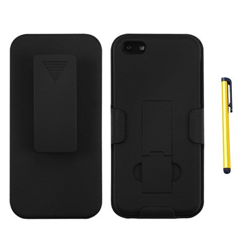 Hybrid Snap on Cover für Apple iPhone 5/5S/SE Gummierte Schwarz Hybrid Holster mit Ständer + A Gold Color Stylus/Pen (5s-schwarz Iphone Mobile Virgin)