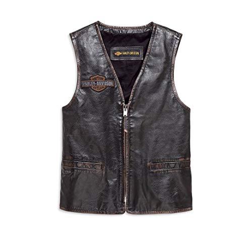 Harley Davidson® Men's Eagle Distressed Slim Fit Leather Vest - 98078-19VM (Davidson Harley Mens Eagle)