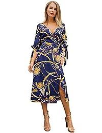 83e0ed45f020 Fanuosu Abiti da Festa per Donna Vestito Longuette da Spiaggia per Donna  Casual con Scollo a