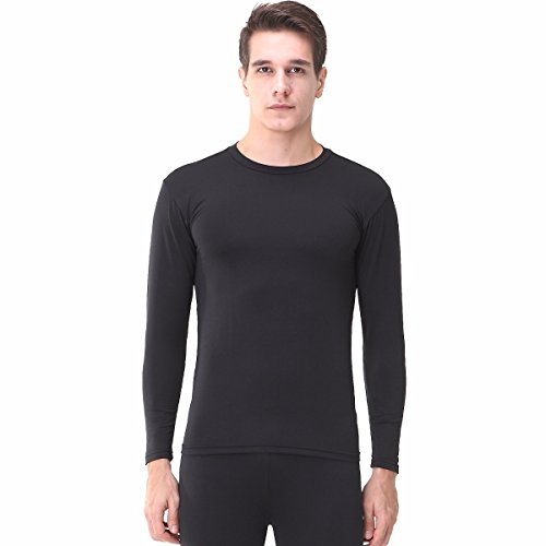 Herren Kompression Top Long Sleeve Shirt Base Layer T-Shirts für Fitness Running EL Gr. Large, Schwarz (Und Groß T-shirt Hoch Performance)