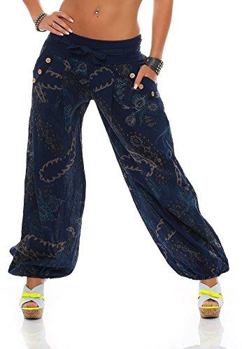 ZARMEXX Damen Pumphose Haremshose Sommerhose Aladinhose Strandhose Fantasy-Print Baumwollhose (Einheitsgröße: 36-40, blau)