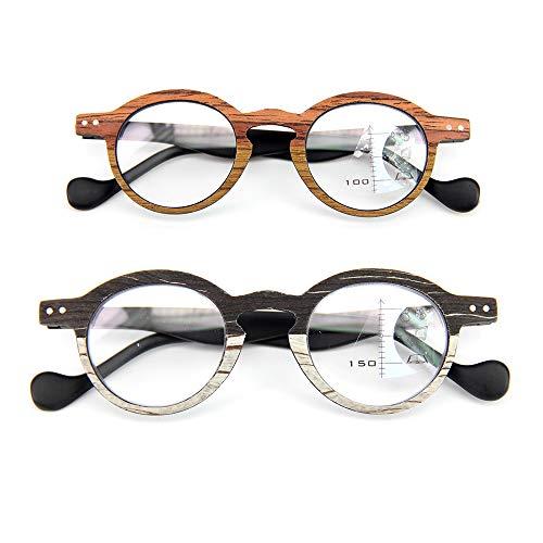 2er Pack Holz-Look-Lesebrille Progressive Multifocal-Brille Lesegruppe Glasse Presbyopie-Brille Anti-Müdigkeit Blendschutz UV-Blocking Fashion Imitation Wood,2.5