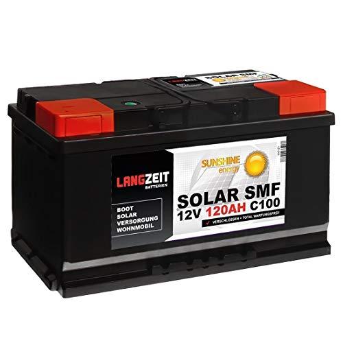 Solarbatterie 120Ah 12V Versorgungsbatterie Wohnmobil Batterie Boot Solar SMF total wartungsfrei 100Ah