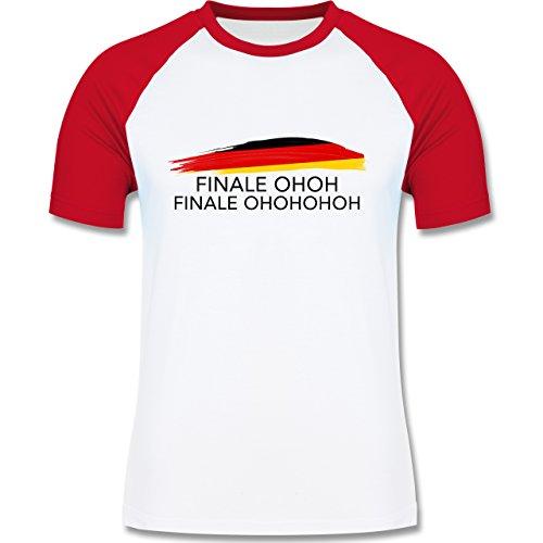 EM 2016 - Frankreich - Deutschland Finale OHOH - zweifarbiges Baseballshirt für Männer Weiß/Rot