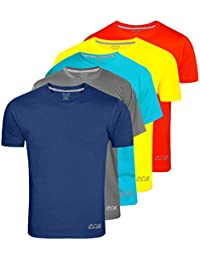 AWG - All Weather Gear Men's Dryfit Polyester Round Neck Combo Of 5 Half Sleeve T-Shirts