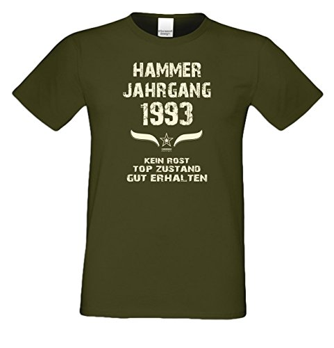 Geschenk-Idee zum 24. Geburtstag :-: Herren Geburtstags T-Shirt mit Jahreszahl :-: Hammer Jahrgang 1993 :-: Geburtstagsgeschenk Männer :-: Farbe: khaki Khaki