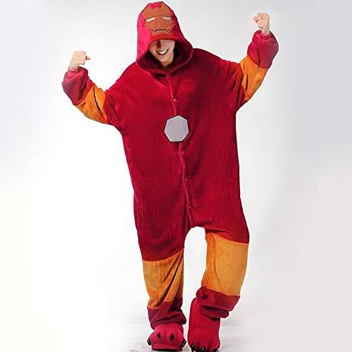 Rote Kostüm Flanell - DUKUNKUN Erwachsen-Karikatur- / Superheld-Pyjama-Kostüm-Flanell-Gewebe-Rot Cosplay Für Tierschlafanzug-Karikatur-Halloween-Festival/Feiertag/Weihnachten/Pyjamas,S
