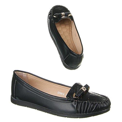 Damen Schuhe, ZH68-2, MOKASSINS Schwarz