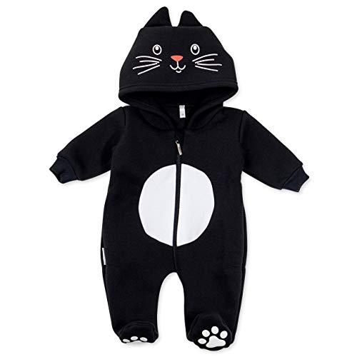Baby Sweets Baby Tier Strampler Unisex schwarz | Motiv: Katze | Tierstrampler mit Kapuze für Neugeborene & Kleinkinder | Größe 9 Monate (74)...