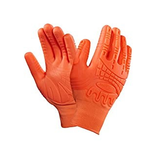 X 1 Pair Ansell Mad Grip ActivArmr Palm and Knuckle Protection Gloves Hi Viz Orange OCR Tough Mudder (8)