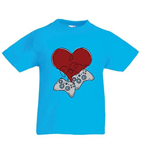 lepni.me Kinder Jungen/Mädchen T-Shirt Video-Spieler, Controller Herz (12-13 Years Hellblau - Baseball Spieler Kostüm Für Jungen