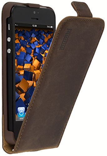 mumbi PREMIUM Vintage Leder Flip Case für iPhone SE 5 5S Tasche braun (Iphone 5s Braun Leder Flip Case)