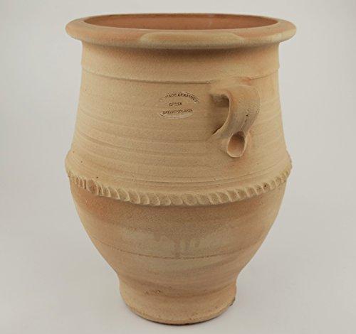 Kreta-Keramik, frostfeste Amphore mit Henkel, 40 cm mediterrane Keramik für den Garten Terrasse Außenbereich echtem Terrakotta, Thymus