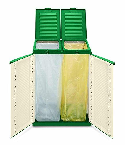 comprare on line Terry Ecocab 2 Armadio in Plastica per Raccolta Differenziata, Beige/verde, 68 x 39 x 88.7 cm prezzo