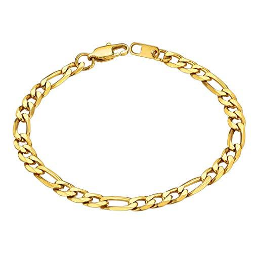 ChainsHouse 21cm Dorado Pulsera, Cadena de Tobillo, Figaro 3+1 eslabones anudados, Acero Inoxidable con baño de Oro, Gratis Caja de Regalo