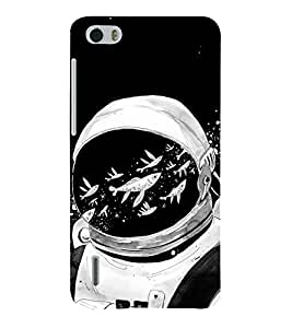 Fiobs Designer Phone Back Case Cover Huawei Honor 6 Plus ( Astronaut Fishing Space Mask Space Man )