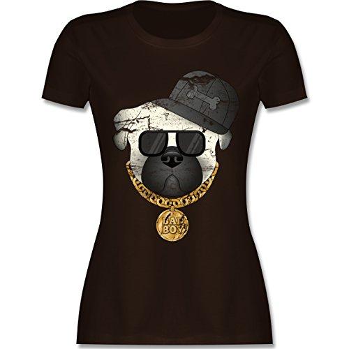 Hunde - Bad Boy Mops Vintage - tailliertes Premium T-Shirt mit Rundhalsausschnitt für Damen Braun