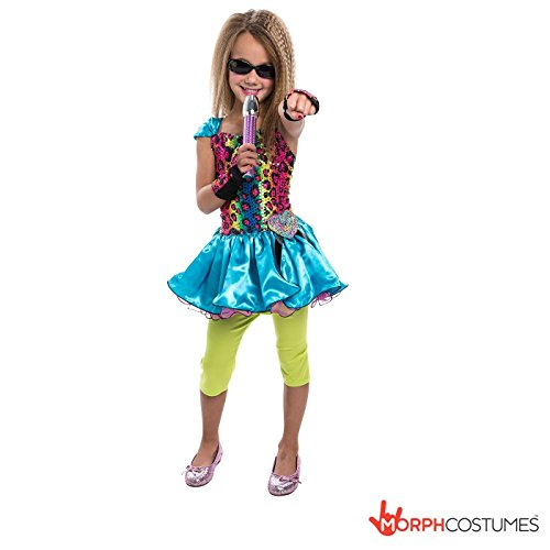 Rainbow Pop Star (Ages 6 to 10) Costume with dress, leggings, arm gauntlets and microphone