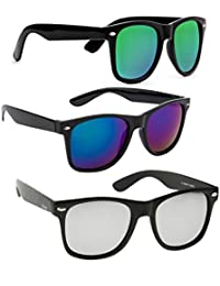 31a0230dc8c ELLIGATOR Reflactive Color Mirror Lens Unisex Sunglasses Combo (Green-Blue -Silver
